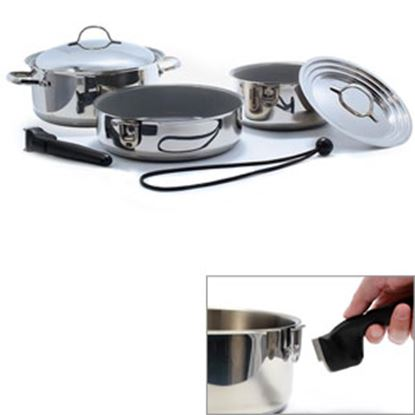 Picture of Camco  Ceramic Coated Stainless Steel w/ Aluminum Core Cookware Set 43925 03-1960